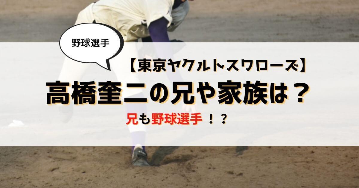 高橋奎二の兄も野球選手!兄弟の経歴や父母と家族構成は?